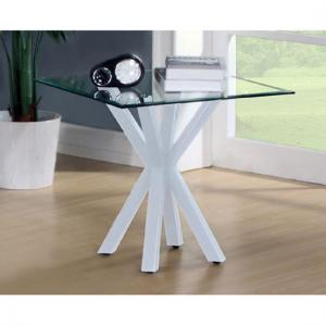 Alissa High Gloss White finish Clear Glass Top Lamp Table