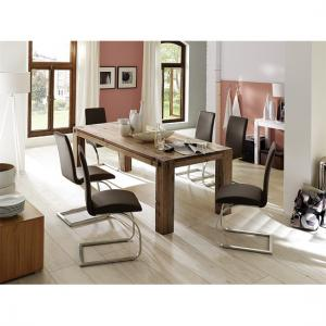 Leeds Solid Wood Dining Table In Oak 180cm With 6 Chairs