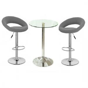 Gino Glass Bar Table And 2 Leoni Bar Stools In Charcoal Grey