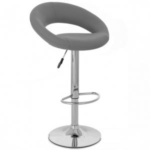 Leoni Bar Stool In Charcoal Grey Faux Leather With Chrome Base