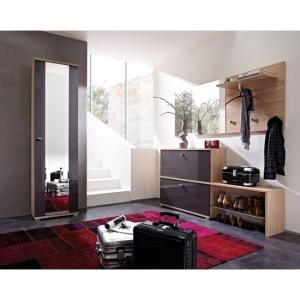 Life Hallway Furniture Set In Sonoma Oak And High Gloss Fronts
