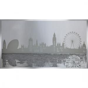 Jenna Glass Wall Art In Silver With London Designed On Mirror