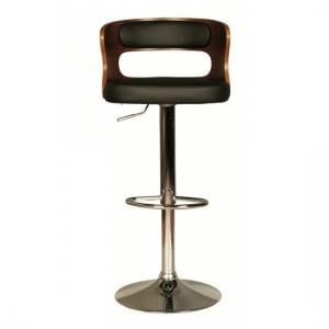 Alston Bar Stool In Walnut And Black PU With Chrome Base