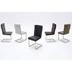 Luna Metal Swinging Dining Chair In Grey Faux Leather
