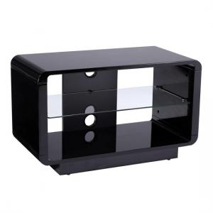 Lucia TV Stand Small In High Gloss Black With Glass Shelf