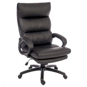 Huxley Home Office Chair In Black Faux Leather With Castors