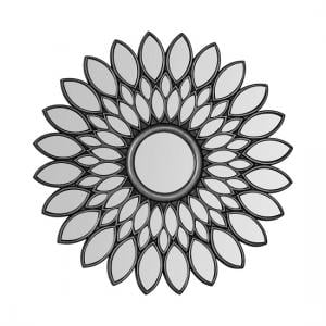 Lebanon Floral Style Wall Mirror Round In Silver
