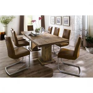 Mancinni 6 Seater Wooden Dining Table With Flair Dining Chairs