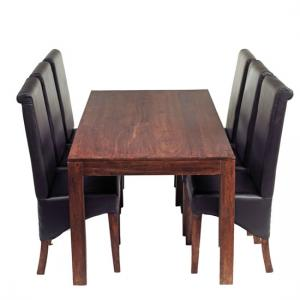 Mango Dining Set with 6 Leather Chairs