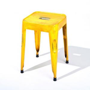Melange Stackable Metal Stool In Yellow