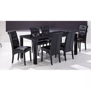 Morna Black High Gloss Finish Large Dining Table And 6 Chairs