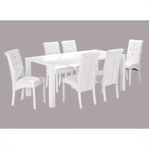 Morna White High Gloss Finish Large Dining Table And 6 Chairs