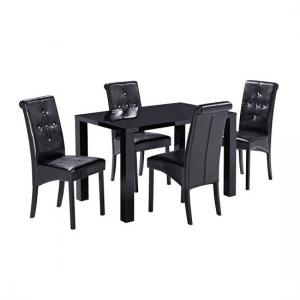 Morna Black High Gloss Finish Medium Dining Table Only