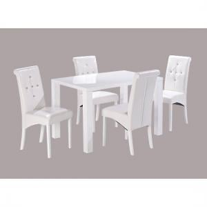 Morna White High Gloss Finish Dining Table And 4 Chairs
