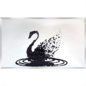 Peyton Glass Wall Art In Black Glitter Swan On Silver Mirror