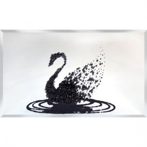 Peyton Glass Wall Art Large In Black Glitter Swan On Silver