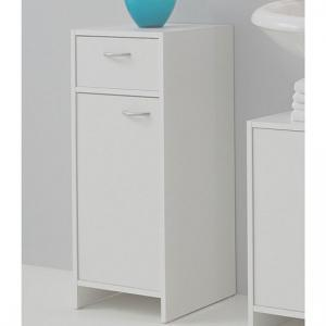 Madrid2 Bathroom Floor Cabinet In White With 1 Door And 1 Drawer