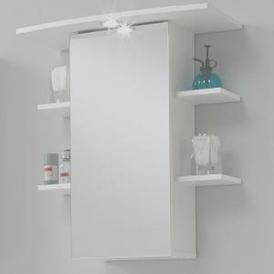 Madrid8 Mirrored Bathroom Wall Cabinet In White With Lights