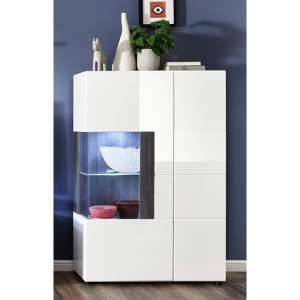 Madsen Display Cabinet Small In White High Gloss Fronts And LED