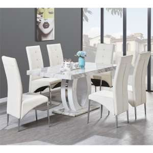Magnesia Dining Table Gloss Marble Effect And 6 Vesta Chairs