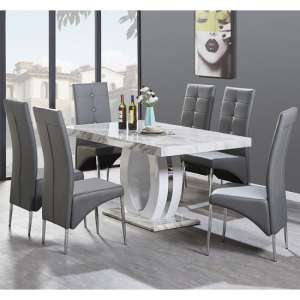 Magnesia Dining Table Gloss Marble Effect And 6 Vesta Grey Chair
