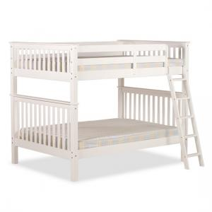 Malvern Wooden Small Double Bunk Bed In White