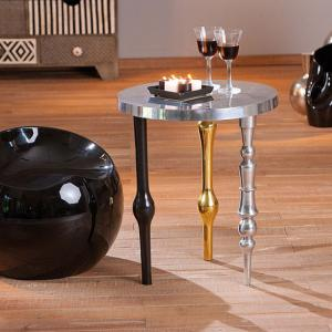 Manga Shiny Silver Finish Round Shaped Side Table