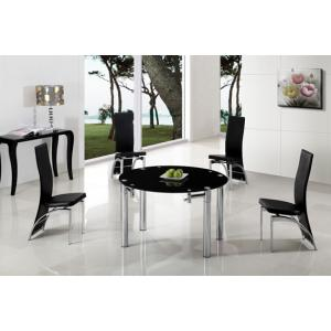 Oasis Extending Dining Table In Black Glass With Chrome