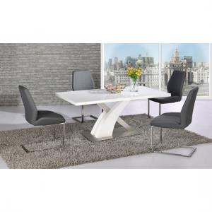 Mario Dining Table In White Glass Top With 4 Grey Dining Chairs
