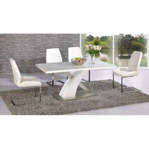 Mario Dining Table In White Glass Top With 4 White Dining Chairs