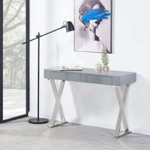 Mayline Console Table In Grey High Gloss With Glass Top