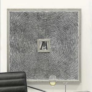 Maze Wooden Wall Art Square In Antique Silver With Glass