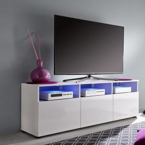 Hayden 3 Doors LCD TV Stand In White Gloss Fronts And LED