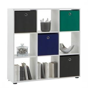 Mega5 Bookcase In White With 9 Compartments