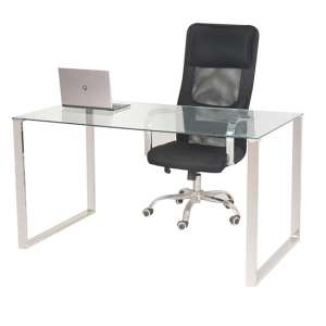 Megan Clear Glass Computer Desk With Chrome Legs
