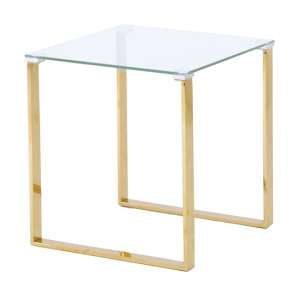 Megan Clear Glass Side Lamp Table With Gold Legs