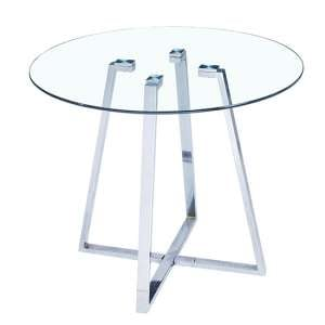 Melito Clear Glass Round Dining Table With Chrome Legs