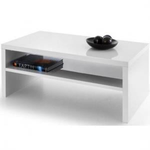 Metric Coffee Table In White High Gloss With UnderShelf