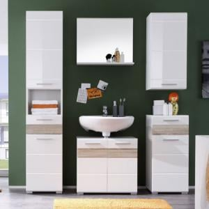 Mezzo Bathroom Set In White With High Gloss And Light Oak