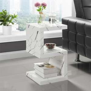 Miami S Shape Side Table In Gloss White Vida Marble Effect