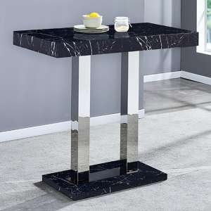 Milano Black Marble Effect High Gloss Bar Table