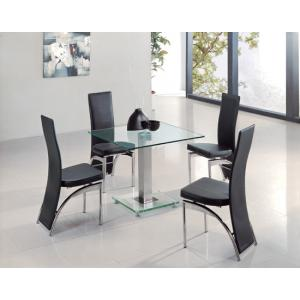 Square Ice Clear Glass Dining Table And 4 G501 Chairs