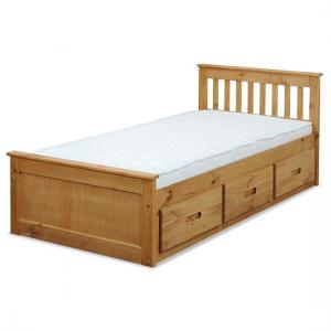 Mission Storage Single Bed In Waxed Pine With 3 Drawers