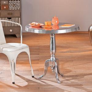Mistura Silver Finish Round Shaped Side Table