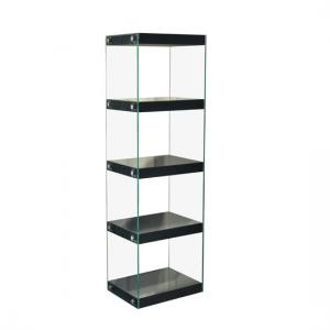 Torino Large Display Stand In Glass With Black Gloss Shelves
