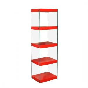 Torino Large Display Stand In Glass With Red Gloss Shelves