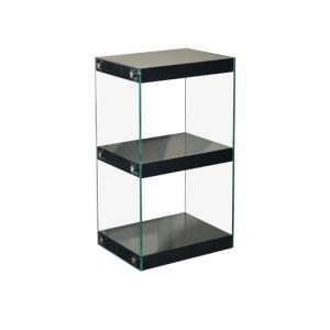 Torino Small Display Stand In Glass With Black Gloss Shelves