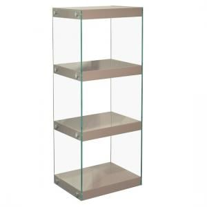 Torino Medium Glass Display Stand With Mink Grey Gloss Shelves