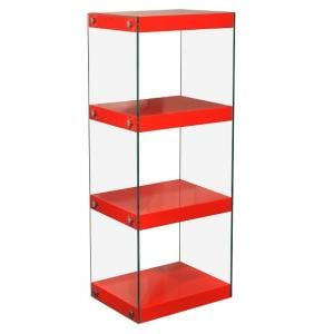 Torino Medium Display Stand In Glass With Red Gloss Shelves