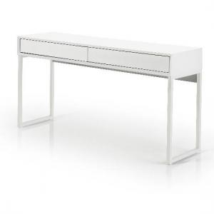 Moller Console Desk In Matt White With Metal Legs And 2 Drawers